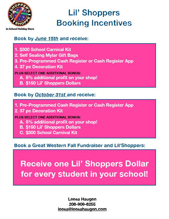 Little Shoppers Shoppe Booking Incentives image